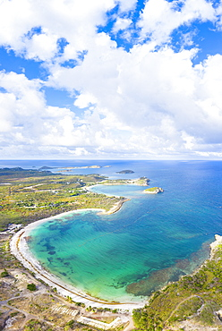 Aerial panoramic by drone of Half Moon Bay washed by Caribbean Sea, Antigua, Leeward Islands, West Indies, Caribbean, Central America