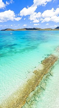 Aerial panoramic by drone of the transparent water of Caribbean Sea, Antilles, West Indies, Caribbean, Central America