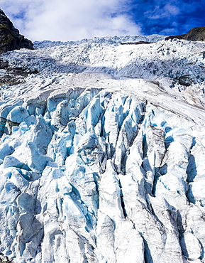 Aerial by drone of ice blocks of Boyabreen Glacier, Jostedalsbreen National Park, Fjaerland, Sogn og Fjordane county, Norway, Scandinavia, Europe