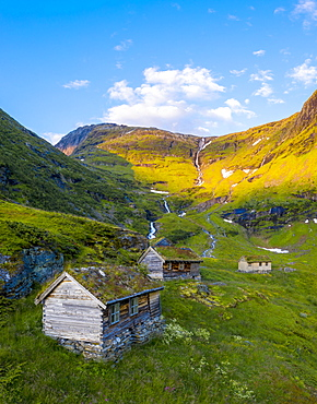Aerial panoramic of Dalsnibba mountain and traditional wood huts, Stranda municipality, More og Romsdal county, Norway, Scandinavia, Europe