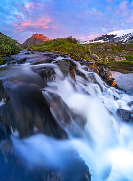 Waterfall flowing down from Blafjellelva plateau in Dalsnibba mountain area, Stranda municipality, More og Romsdal, Norway, Scandinavia, Europe