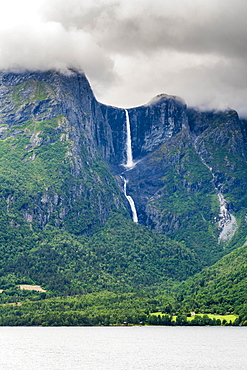 Mardalsfossen waterfall seen from Mardola river, Eikesdalen, Nesset municipality, More og Romsdal county, Western Norway, Scandinavia, Europe