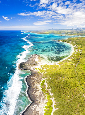 Aerial panoramic of tropical Public Beach washed by the ocean waves, Poste Lafayette, East coast, Mauritius, Indian Ocean, Africa