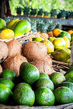 Fresh coconut and tropical fruit in straw baskets, La Gaulette, Black River district, Mauritius, Indian Ocean, Africa