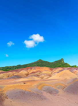 Panoramic of The Seven Colored Earth Geopark, Chamarel, Black River district, Mauritius, Indian Ocean, Africa