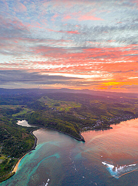 Sunrise over the ocean along south coast, aerial view by drone, Baie Du Cap, Mauritius, Indian Ocean, Africa