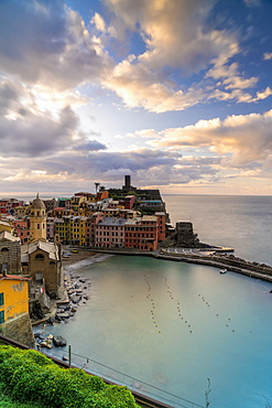 Colorful village of Vernazza at sunrise, Cinque Terre, UNESCO World Heritage Site, La Spezia province, Liguria, Italy, Europe