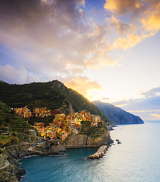 Aerial panoramic of Manarola at sunrise, Cinque Terre, UNESCO World Heritage Site, La Spezia province, Liguria, Italy, Europe