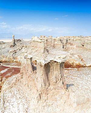Aerial panoramic of Salt Mountains of Dallol, Danakil Depression, Afar Region, Ethiopia, Africa