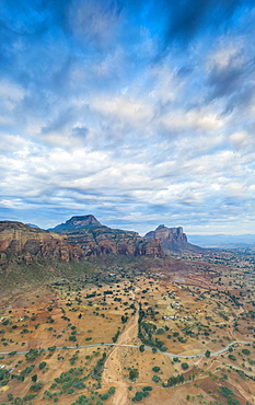 Aerial panoramic by drone of clouds at sunset over Gheralta Mountains, Hawzen, Tigray Region, Ethiopia, Africa