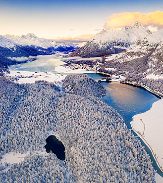 Aerial view of snowy woods around Lej Nair, Piz Polaschin, Piz La Margna, Silvaplana and Lej DaChampfer, Engadine, canton of Graubunden, Switzerland, Europe