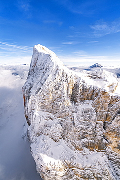 Rock face of Monte Pelmo covered with snow, aerial view, Dolomites, Belluno province, Veneto, Italy, Europe
