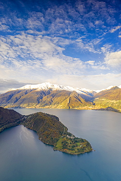 Aerial panoramic of Piona Abbey (Abbazia Priorato di Piona) and mountains, Lake Como, Colico, Lecco province, Lombardy, Italian Lakes, Italy, Europe