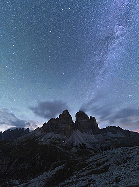 Milky Way over Tre Cime di Lavaredo in summer, Sesto Dolomites, South Tyrol, Italy, Europe