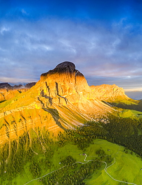 Aerial view of Sass De Putia (Peitlerkofel) at dawn in summer, Passo Delle Erbe, Puez-Odle, Dolomites, South Tyrol, Italy, Europe
