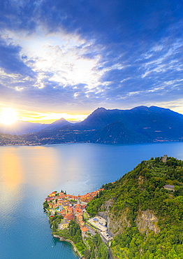 Aerial view of the old Vezio Castle on hills above Varenna at sunset, Lake Como, Lecco province, Lombardy, Italian Lakes, Italy, Europe
