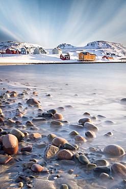 Clouds over waves of the icy sea, Veines, Kongfjord, Varanger Peninsula, Troms og Finnmark, Norway, Scandinavia, Europe