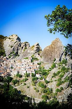 Medieval town of Castelmezzano at feet of Dolomiti Lucane mountains, Potenza province, Basilicata, Italy, Europe