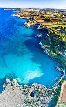 Aerial view of the open grotto known as Grotta Sfondata on cliffs along the coastline, Otranto, Lecce, Salento, Apulia, Italy, Europe