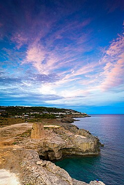 Coastal tower Torre Miggiano at sunset in summer, Santa Cesarea Terme, Porto Miggiano, Lecce province, Salento, Apulia, Italy, Europe