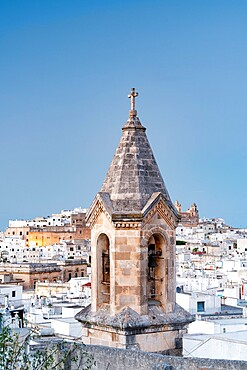 Medieval bell tower and whitewashed houses in the old town of Ostuni, province of Brindisi, Salento, Apulia, Italy, Europe