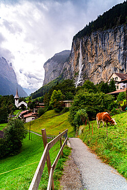 Path through green pastures leading to the village of Lauterbrunnen, Bernese Oberland, canton of Bern, Switzerland, Europe