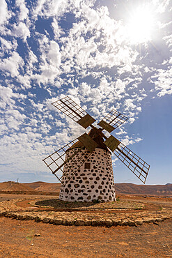 Traditional stone windmill in La Oliva, Fuerteventura, Canary Islands, Spain - 1179-5097