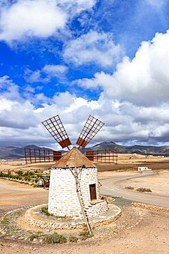 High angle view of traditional old windmill during a sunny day, Tefia, Fuerteventura, Canary Islands, Spain, Atlantic, Europe