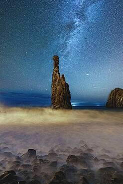 Milky Way shining on sharp rock formation Ilheus da Rib and Ribeira da Janela in the Atlantic Ocean, Madeira, Portugal