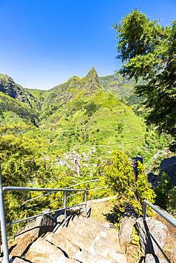 Steep steps on mountain path to the green alpine valley and village of Serra de Agua, Ribeira Brava, Madeira, Portugal
