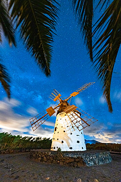 Palm trees framing a lone windmill under Milky Way, El Cotillo, La Oliva, Fuerteventura, Canary Islands, Spain, Atlantic, Europe