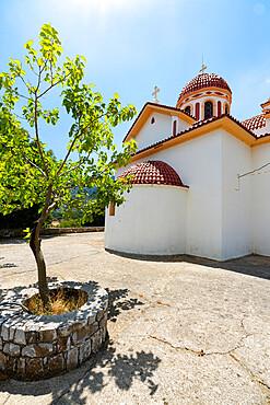 Whitewashed building of the historical Orthodox Emmanuel Church St John, Askifou, Crete island, Greece