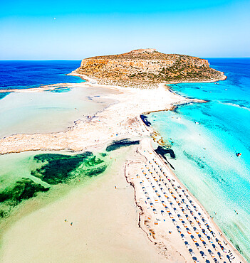 Aerial view of Balos beach and lagoon washed by the turquoise clear sea, Crete island, Greece