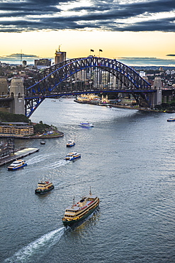View over Sydney harbour after sunset, Sydney, New South Wales, Australia, Pacific