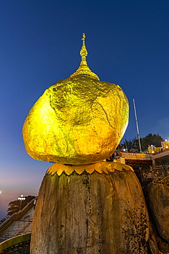 Kyaiktiyo Pagoda (Golden Rock) after sunset, Mon state, Myanmar (Burma), Asia