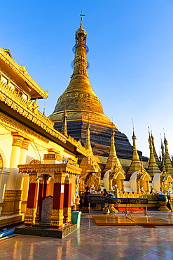 Kyaikthanian paya at sunset, Mawlamyine, Mon state, Myanmar (Burma), Asia
