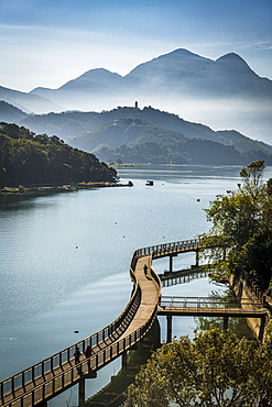 Morning clouds over Sun Moon Lake, National Scenic Area, Nantou county, Taiwan, Asia