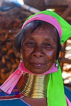 Portrait of a Padaung woman (Giraffe woman) (Long-necked woman), Loikaw area, Panpet, Kayah state, Myanmar (Burma), Asia