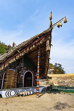 Traditional build huts, Naga heritage village, Kisama, Nagaland, India, Asia