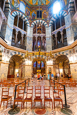 Splendid interior, Aachen Cathedral, UNESCO World Heritage Site, Aachen, North Rhine-Westphalia, Germany, Europe