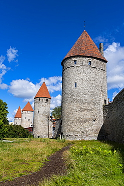 City walls of the Old Town of Tallinn, UNESCO World Heritage Site, Estonia, Europe