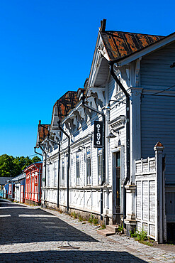 Old wooden buildings in Old Rauma, UNESCO World Heritage Site, Finland, Europe