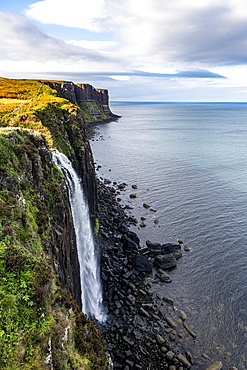 Kilt Rock and Mealt Falls Viewpoint, Isle of Skye, Inner Hebrides, Scotland, United Kingdom, Europe