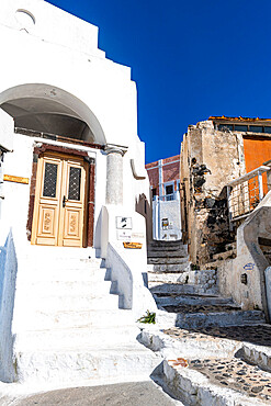 Whitewashed architecture in Pyrgos, Santorini, Greece