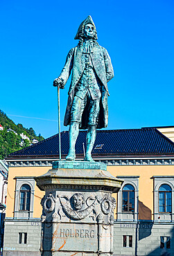 Ludwig Holberg statue, Unesco world heritage site, Bergen, Norway