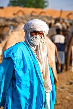 Tuareg man, Animal market, Agadez, Niger, Africa