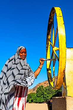 Woman at a waterwheel pumping for water, Oasis of Timia, Air Mountains, Niger, Africa