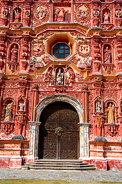 Beautiful facade of the Landa mission, Unesco site Franciscan Missions in the Sierra Gorda of Queretaro, Mexico