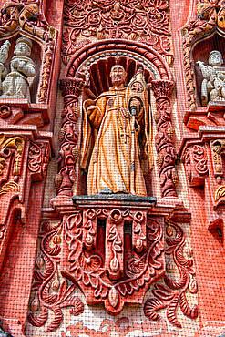 Beautiful facade of the Landa Mission, UNESCO World Heritage Site, Franciscan Missions in the Sierra Gorda of Queretaro, Landa de Matamoros, Queretaro, Mexico, North America