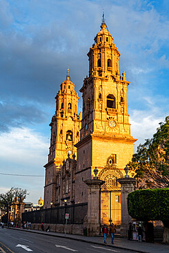 Morelia cathedral at sunset, Unesco site Morelia, Michoacan, Mexico